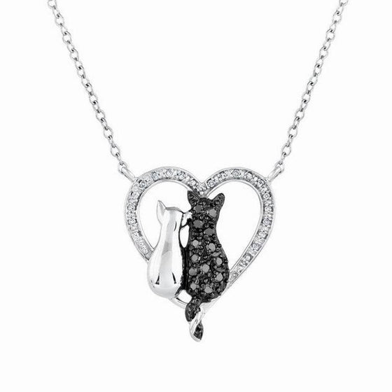 Black and Silver Plated Lovely Cat Bowknot Pendant Necklace