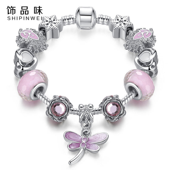 Lovely Pink Murano Glass Beads Dragonfly Charm Bracelet
