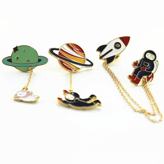 Three Style Astronauts/Earth/Rabbit/Rocket enamel brooch