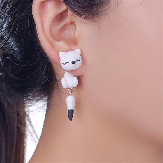Handmade Polymer Clay Fox Earrings
