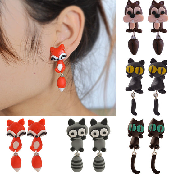Handmade Polymer Clay Animal Earrings
