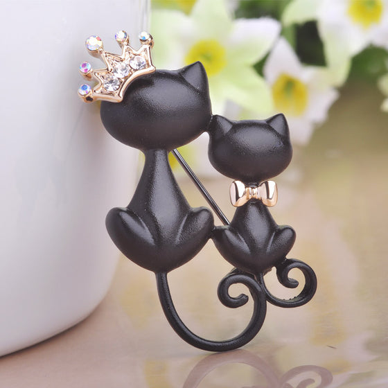Smooth Black Mother-Daughter Cats Brooch