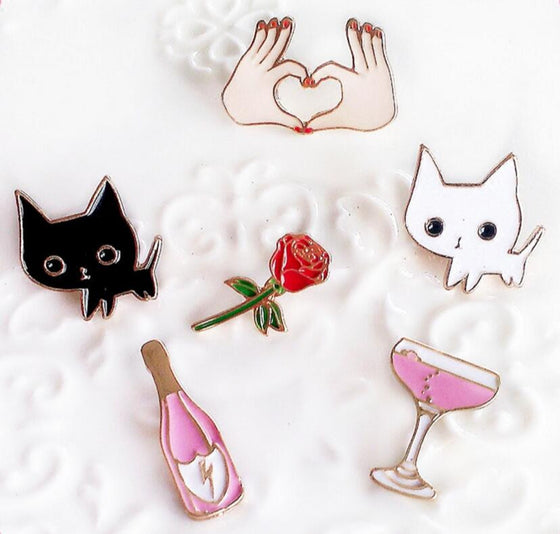 Cat Kitty-Cocktail-Wine-Rose-Hand Cute Metal Brooch