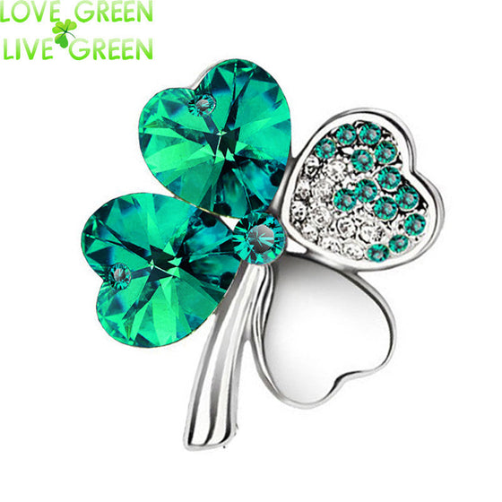 Crystal Four Leaf Clover Brooch