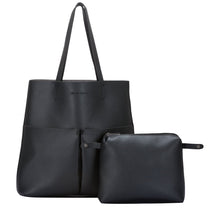 Twin strap twin pocketed tote jobb veskedetaljer