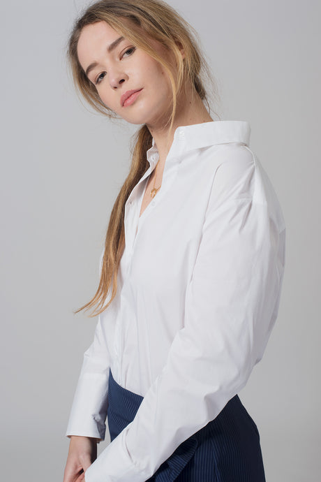 BASIC BLOUSE WITH CONTRAST INSIDE CUFF