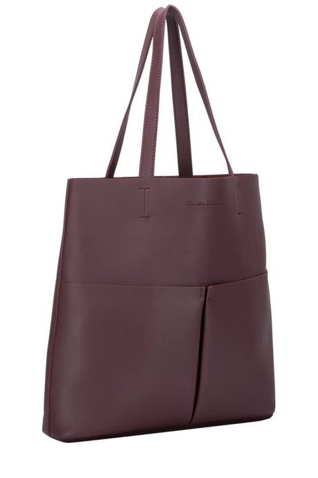 Twin strap twin pocketed tote jobb veske