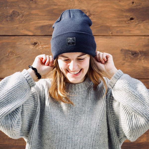 Blue Fold Over Knit Beanie