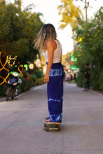 The Wild Guru Wrap Pants. Blue tie dyed bohemian gypsy yoga pants for the beach, festivals, practice, or lounging around.