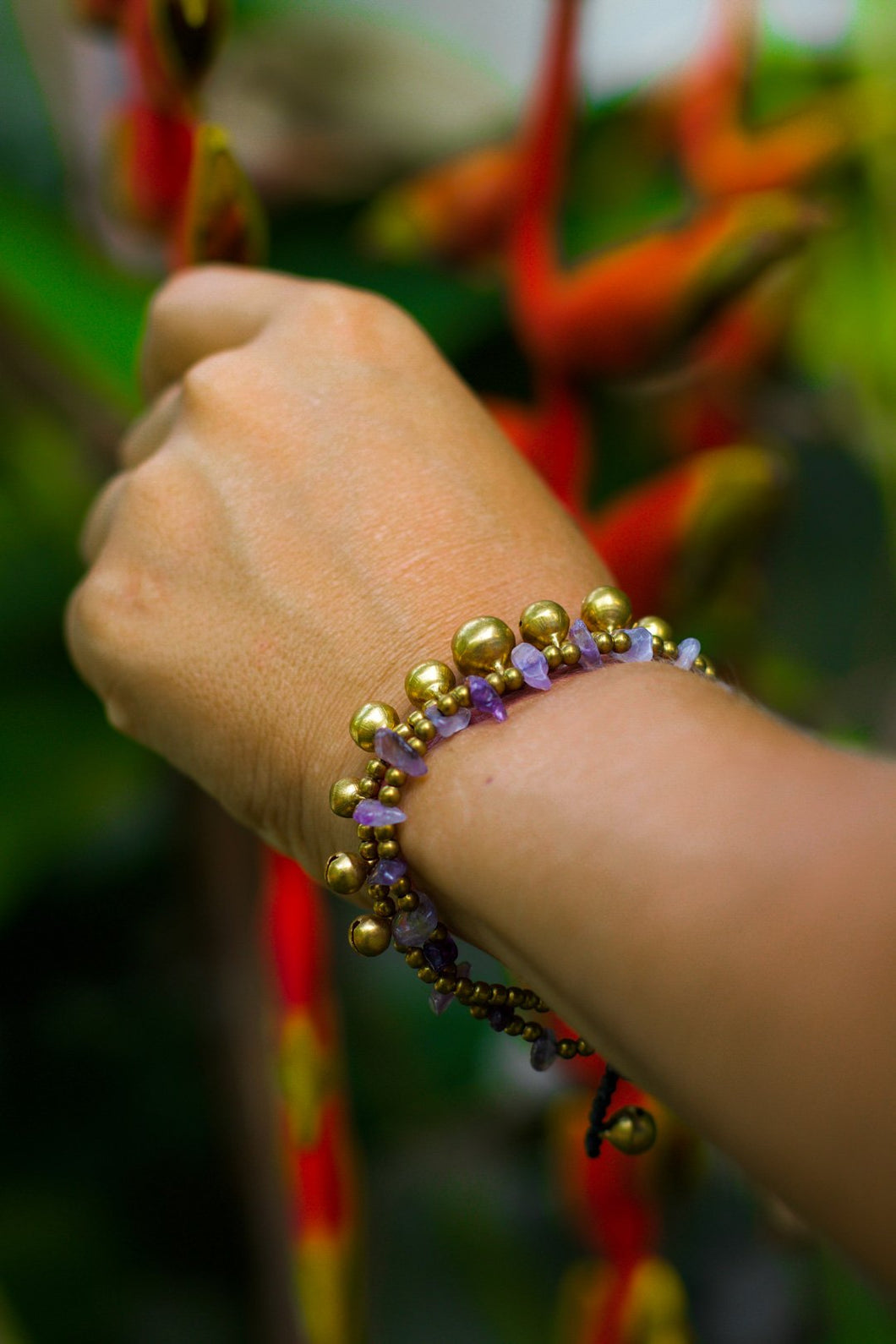 purple stone boho chic bracelet for women