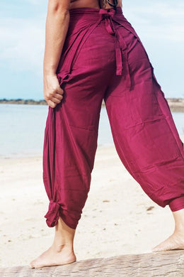 Boho chic wrap pants for women