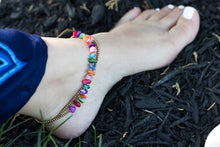 multi colored stone boho chic anklet for women