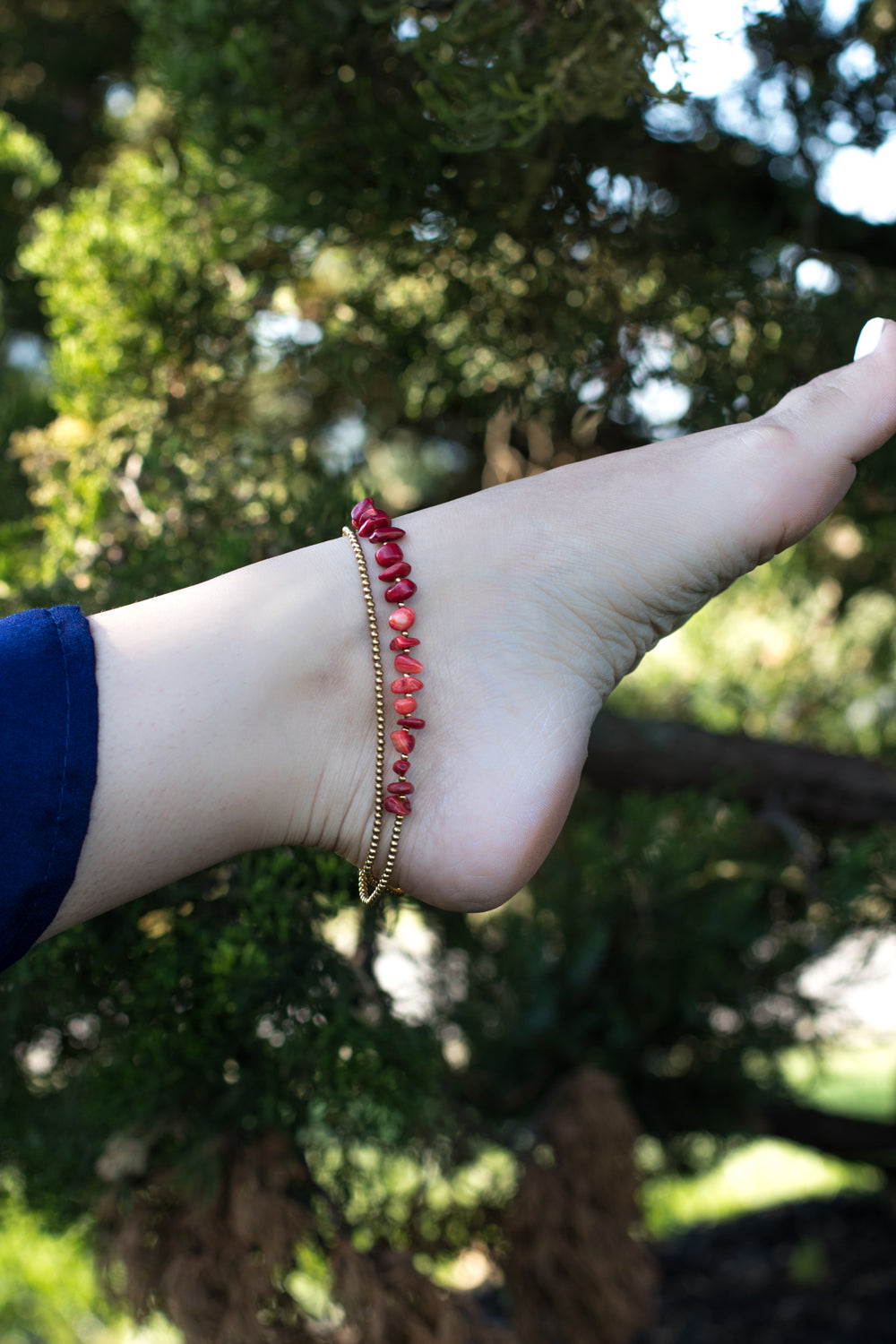 Handmade red stone anklet for women