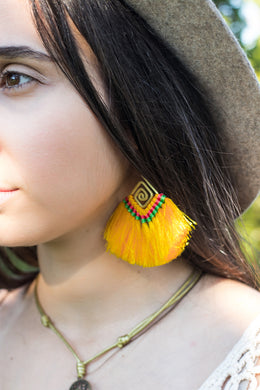 Yellow boho fan earrings for women