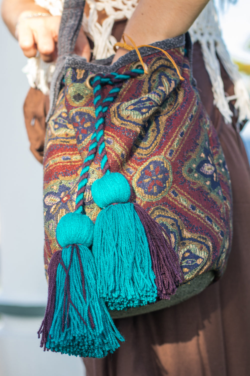 Boho Chic drawstring bag with blue tassels