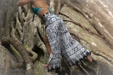 The Snow Leopard Wrap Pants. Bohemian gypsy yoga pants for the beach, festivals, practice, or lounging around.