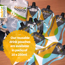 Standard Pack - Nutripouch Drinks Storage System, 5 x 250ml Reusable Pouches, Recipe book