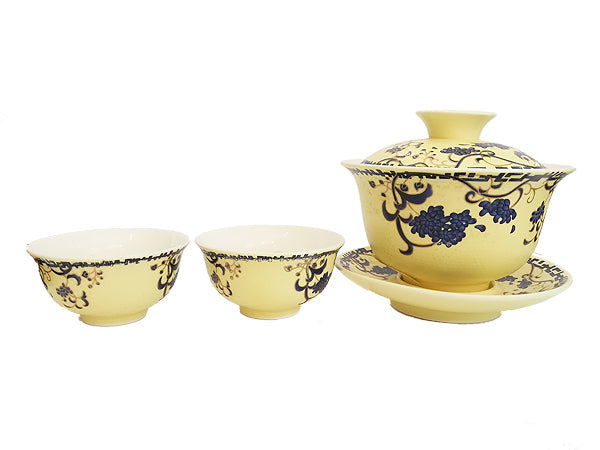"SET GAIWAN ""MING"" CREAM & PURPLE"