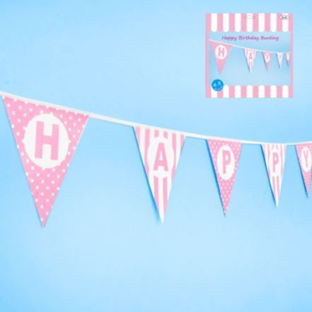 Happy Birthday Bunting in Pink