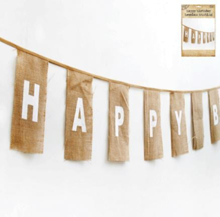 Happy Birthday Bunting in Hessian