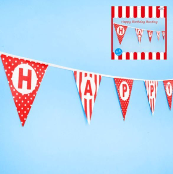 Happy Birthday Bunting in Red