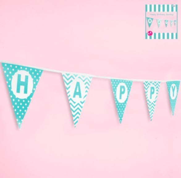 Happy Birthday Bunting in Teal Blue