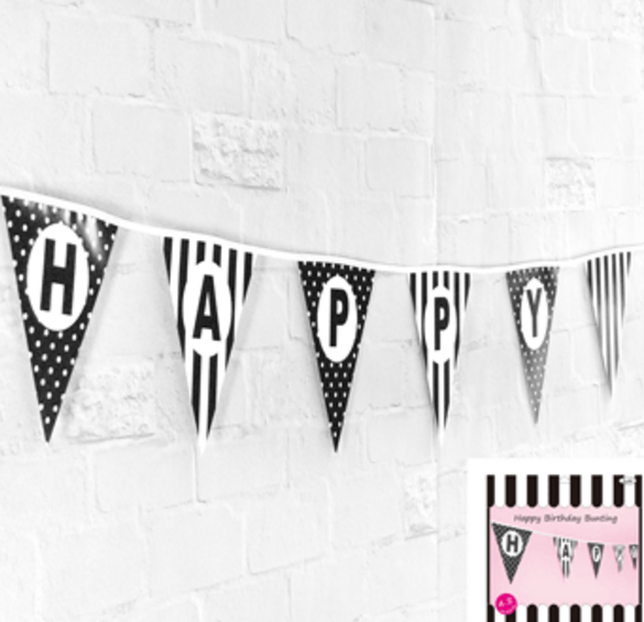 Happy Birthday Bunting in Black