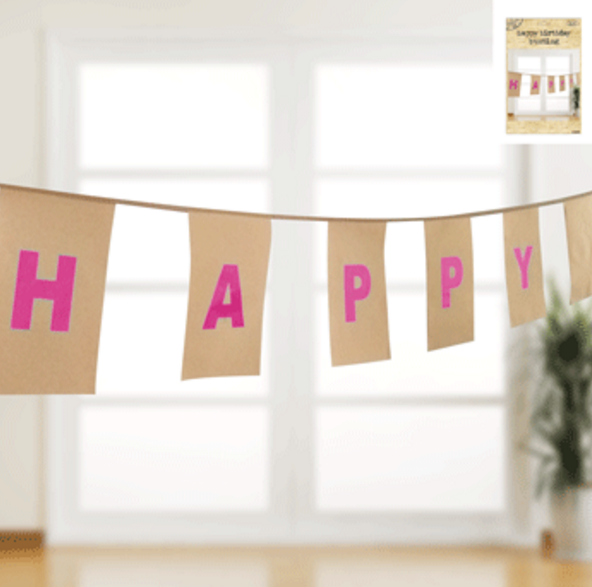 Happy Birthday Pink Foiled Bunting in Kraft