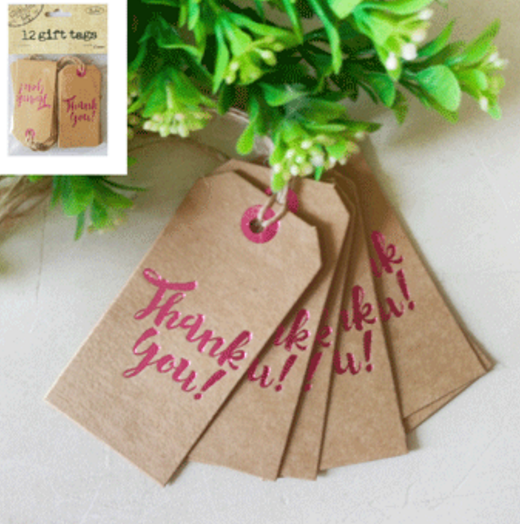 12pk Thank You Pink Foiled Gift Tags