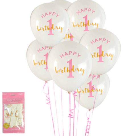6pk 1st Birthday in Pink Balloons