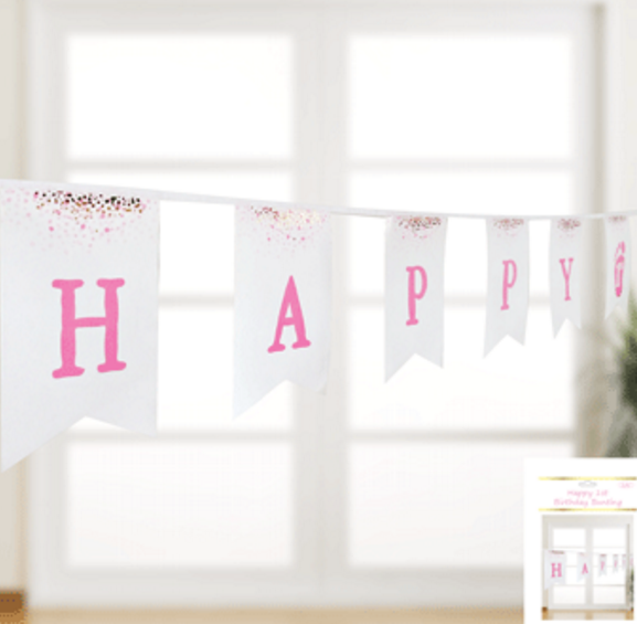1st Birthday Bunting in Foiled Pink