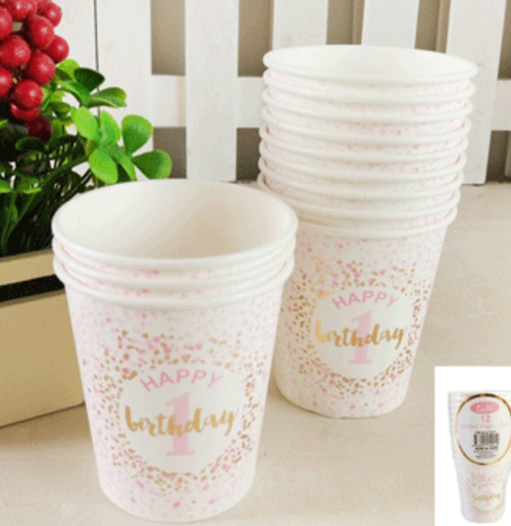 12pk 200ml 1st Birthday Paper Cups in Foiled Pink