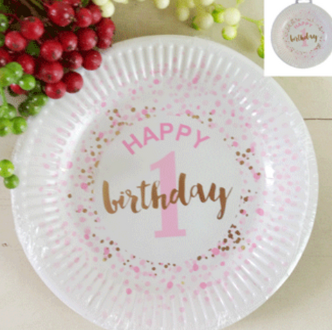 12pk 18cm 1st Birthday Paper Plates in Foiled Pink