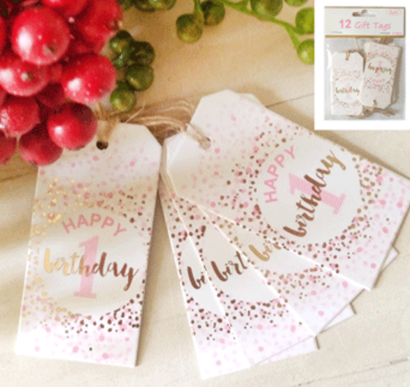 12pk 1st Birthday Gift Tags in Foiled Pink