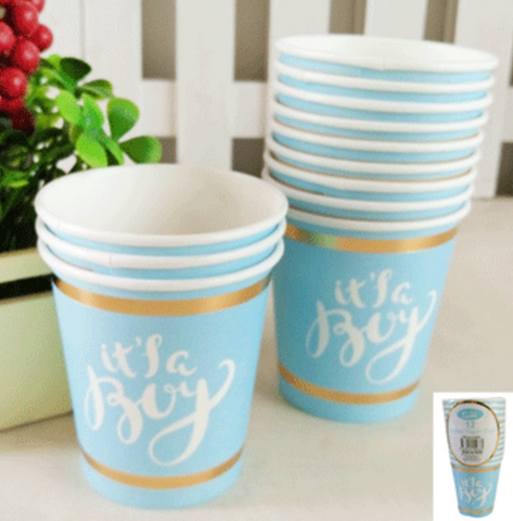 12pk 200ml Baby Shower Paper Cups in Foiled Blue