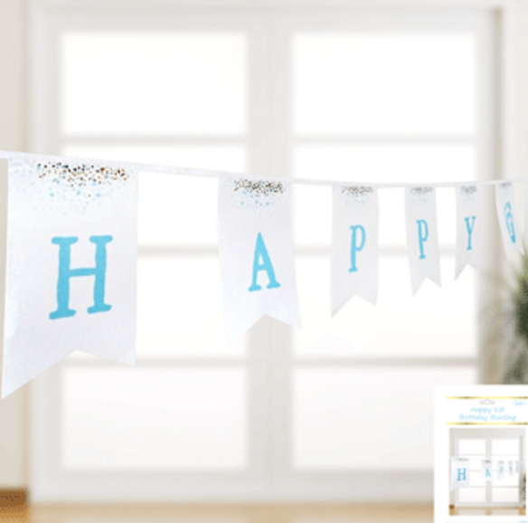 1st Birthday Day Bunting in Foiled Blue