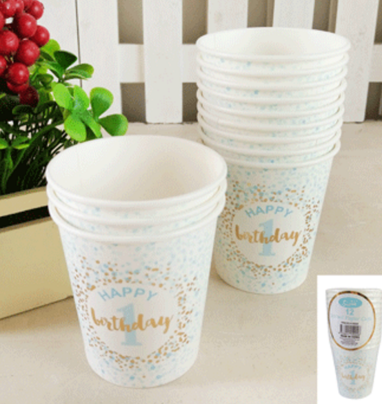 12pk 200ml 1st Birthday Paper Cups in Foiled Blue