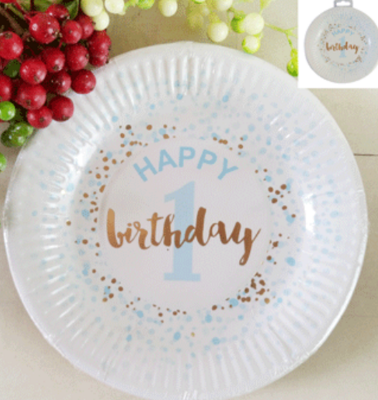 12pk 18cm 1st Birthday Paper Plates in Foiled Blue