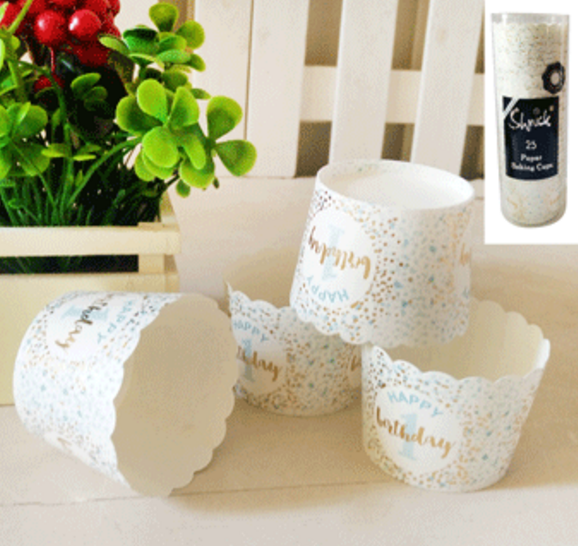 25pk 1st Birthday Paper Baking Cups in Foiled Blue