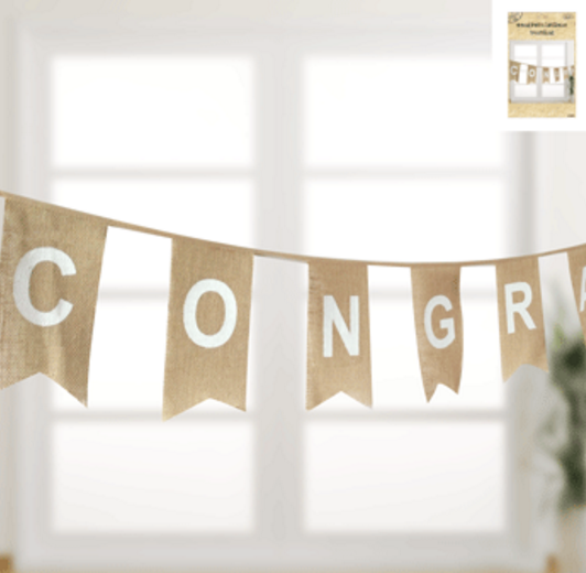 Congratulations Bunting in Hessian