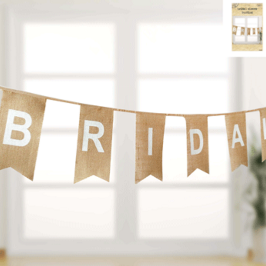 Bridal Shower Bunting in Hessian