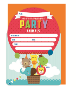 INVITE 16PK PARTY ANIMALS