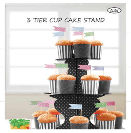 3 Tier Paper Cake Stand - BLACK