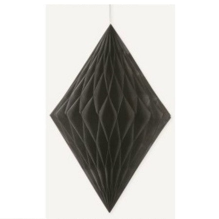 DIAMOND HONEYCOMB DECORATION 35.5cm - BLACK