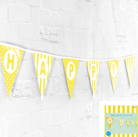 Happy Birthday Bunting in Yellow