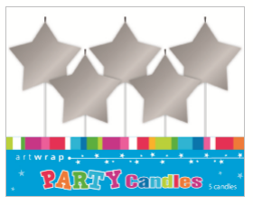 CANDLE SMALL 5PK SILVER STARS