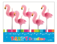 CANDLE SMALL 5PK FLAMINGO
