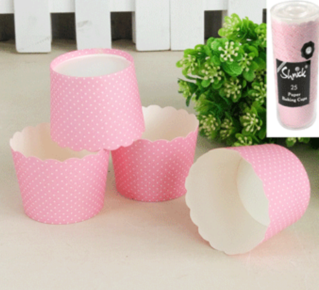 25pk Mini Dotty Baking Cups - PINK