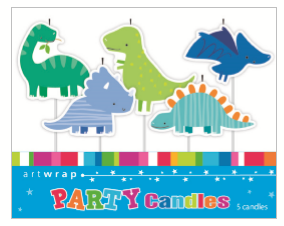 CANDLE SMALL 5PK DINOSAURS