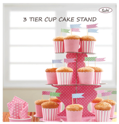 3 Tier Paper Cake Stand - BABY PINK